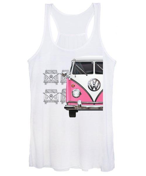 Volkswagen Type 2 - Pink And White Volkswagen T1 Samba Bus Over Vintage Sketch  Women's Tank Top