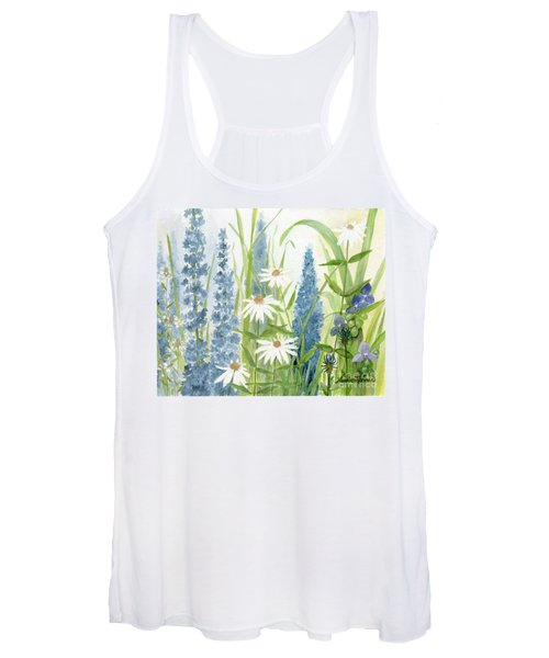 Watercolor Blue Flowers Women's Tank Top