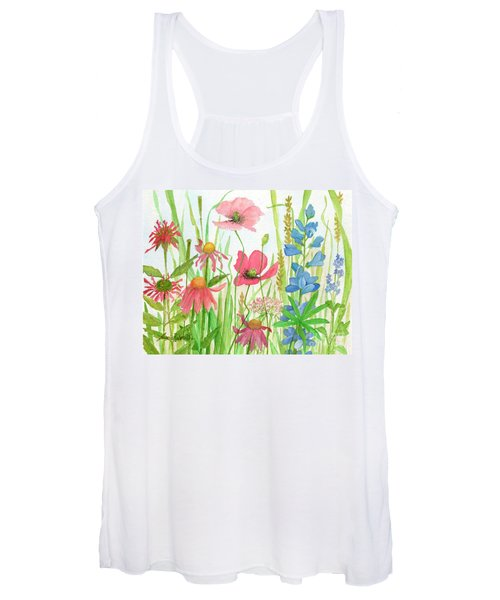 Watercolor Touch Of Blue Flowers Women's Tank Top