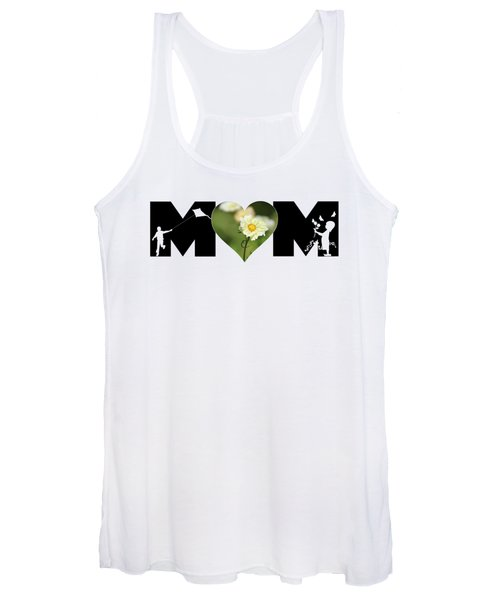 White Cosmos In Heart With Little Girl And Boy Mom Big Letter Women's Tank Top