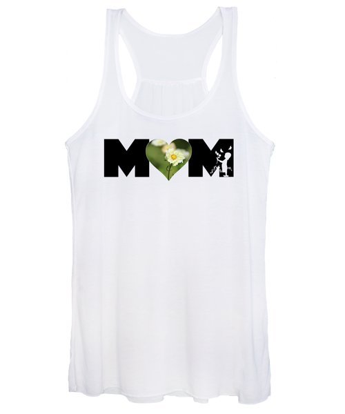 White Cosmos In Heart With Little Girl Mom Big Letter Women's Tank Top