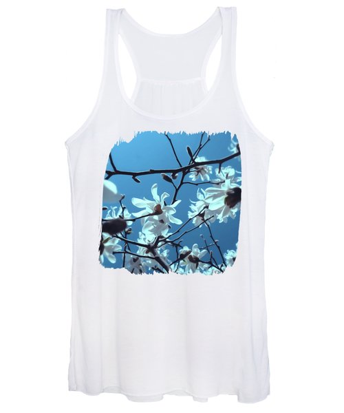 White Magnolia Bloom Blue Sky Women's Tank Top