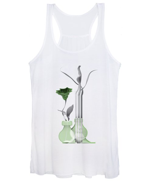 White Soft Stil Life With One Flower. Women's Tank Top