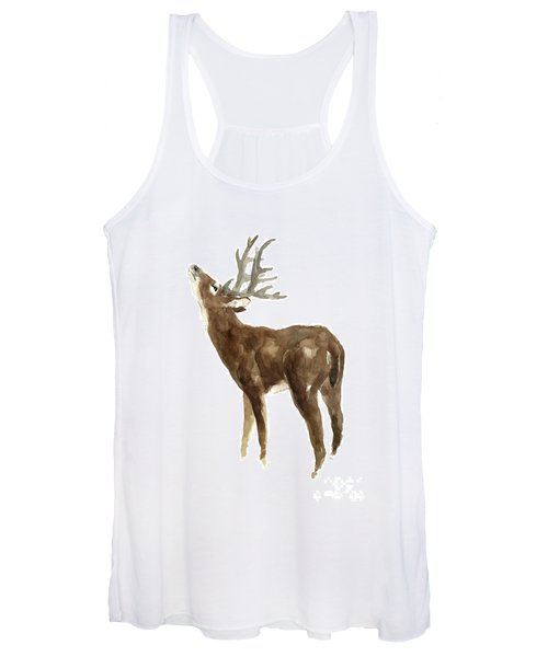 White Tailed Deer Stag With Head Tilted Upwards Women's Tank Top
