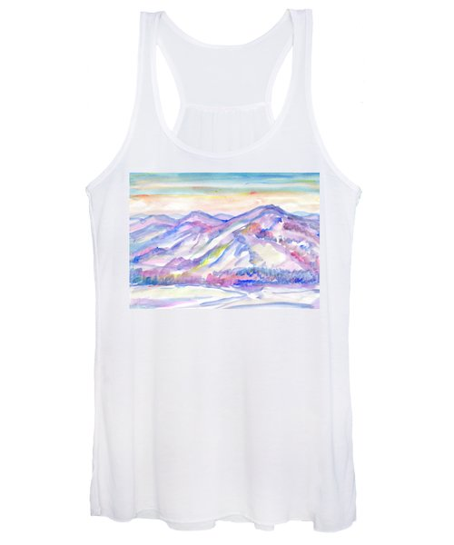 Women's Tank Top featuring the painting Winter Mountain Landscape by Irina Dobrotsvet