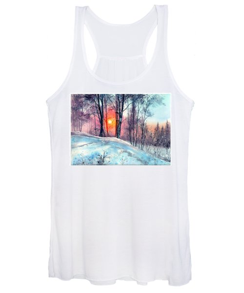 Winter Woodland In The Sun Women's Tank Top