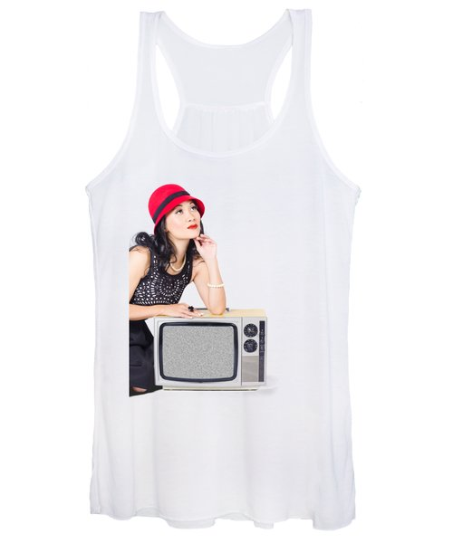 Woman On Retro Tv. Fifties Copyspace Broadcast Women's Tank Top