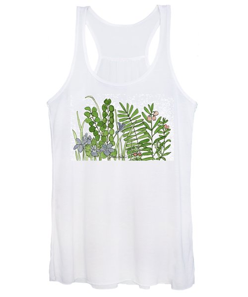 Woodland Ferns Violets Nature Illustration Women's Tank Top