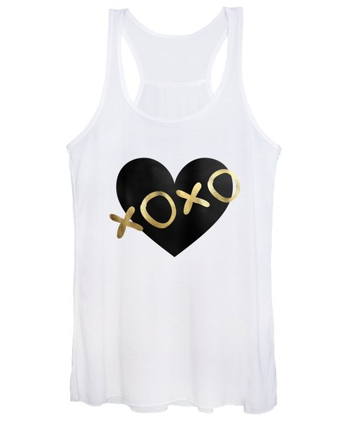 Xoxo Black And Gold Kisses Women's Tank Top