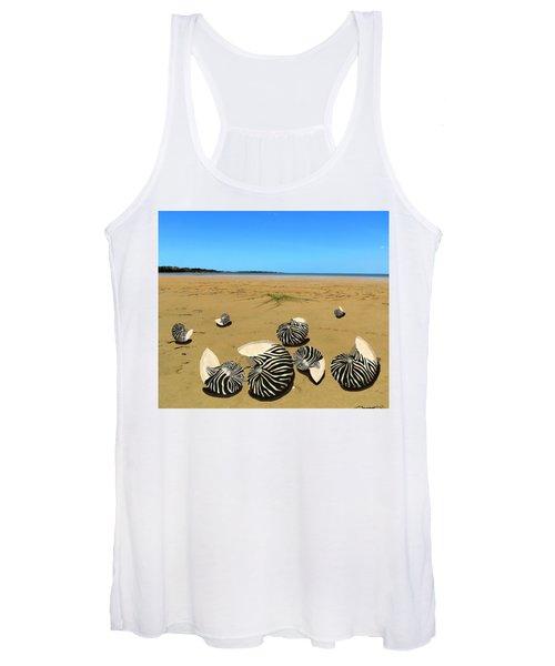 Zebra Nautilus Shells On The Beach  Women's Tank Top
