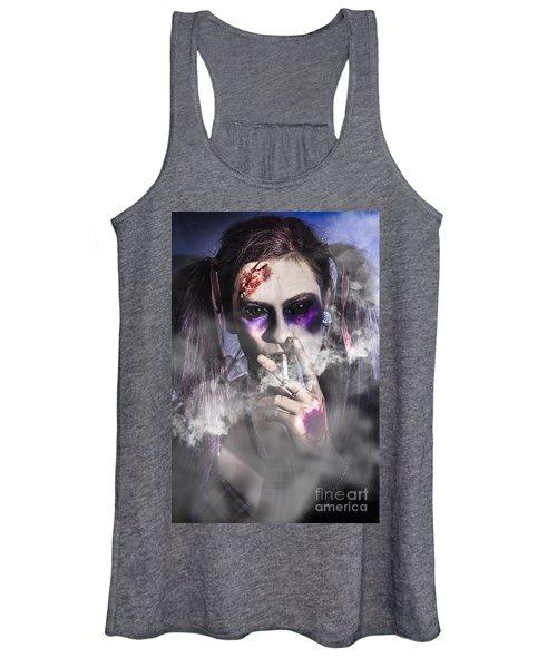 Evil Zombie Schoolgirl Smoking Cigarette Women's Tank Top
