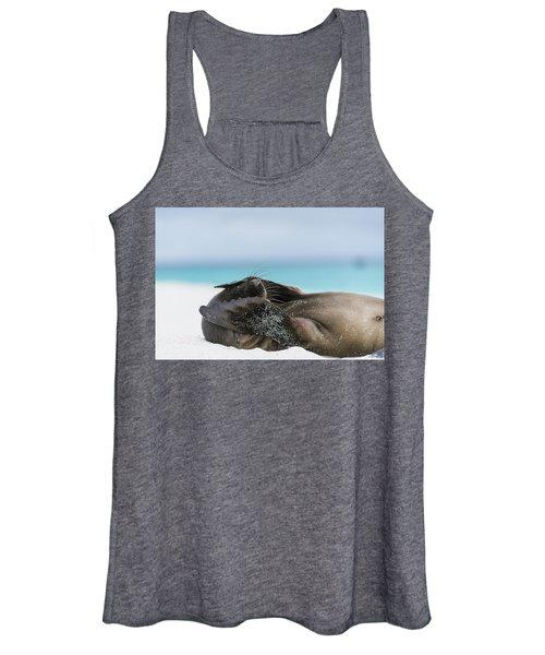 Galapagos Sea Lion Pup Covering Face Women's Tank Top