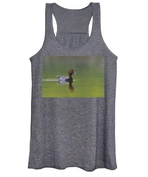 Redhead Duck In Small Marsh Pond Women's Tank Top