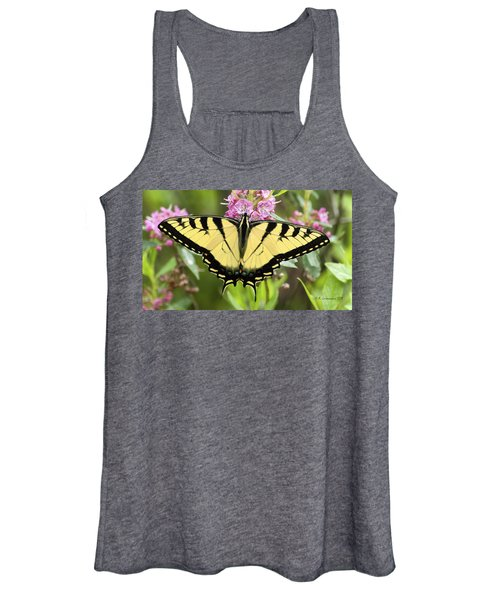 Tiger Swallowtail Butterfly On Milkweed Flowers Women's Tank Top