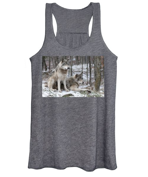 Timber Wolf Pair In Forest Women's Tank Top