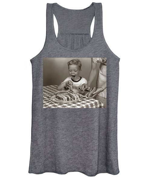 1950s Excited Boy At Table Women's Tank Top