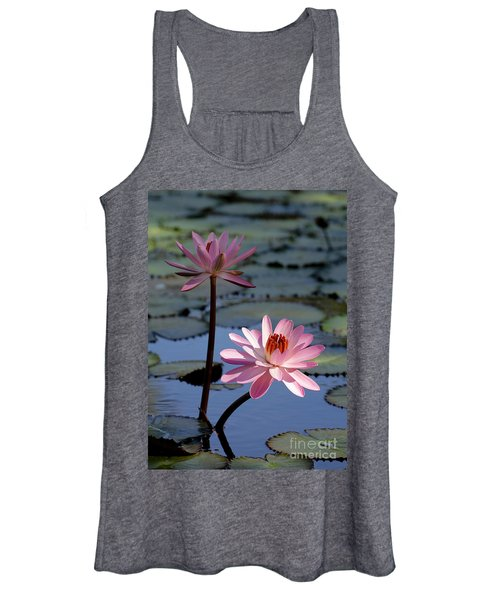 Pink Water Lily In The Spotlight Women's Tank Top