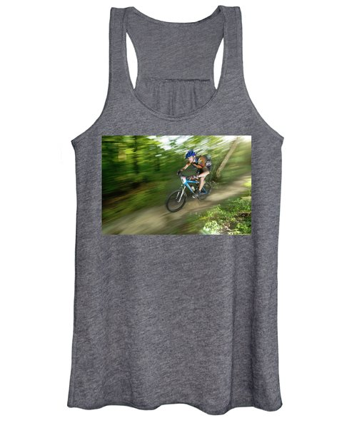 A Competitor Races Through The Woods Women's Tank Top