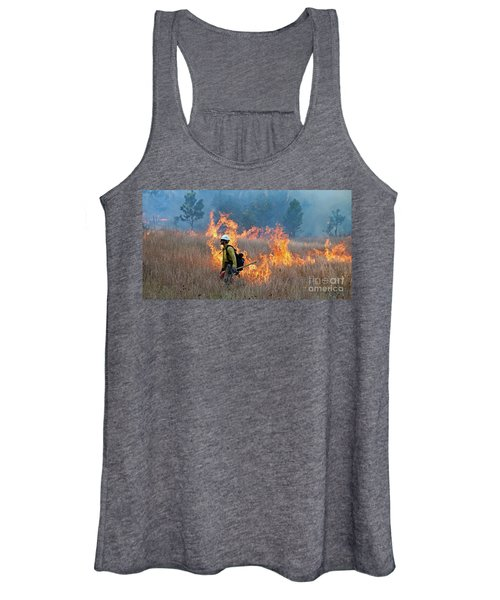 A Firefighter Ignites The Norbeck Prescribed Fire. Women's Tank Top