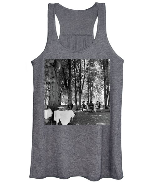 A Group Of People Eating Lunch Under Trees Women's Tank Top