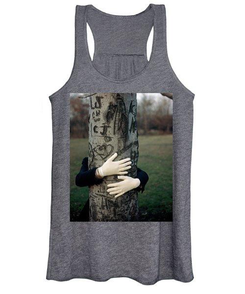 A Model Hugging A Tree Women's Tank Top