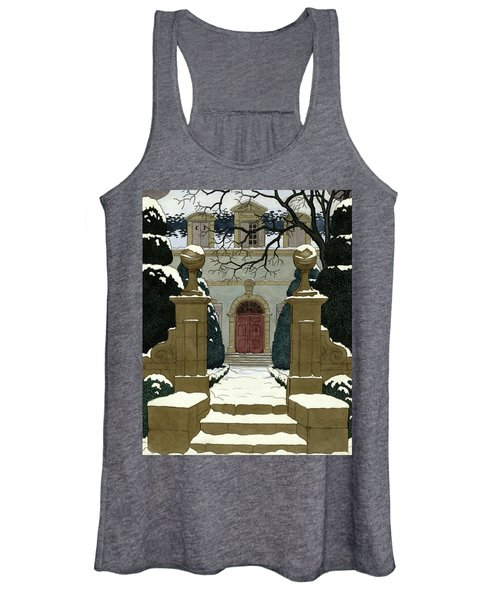 A Snow Covered Pathway Leading To A Mansion Women's Tank Top