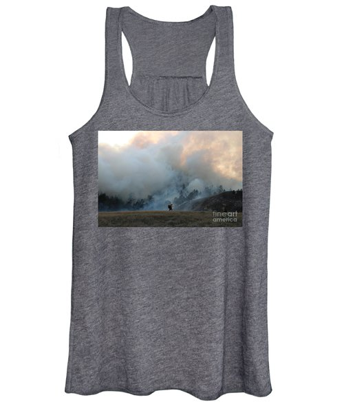 A Solitary Firefighter On The White Draw Fire Women's Tank Top