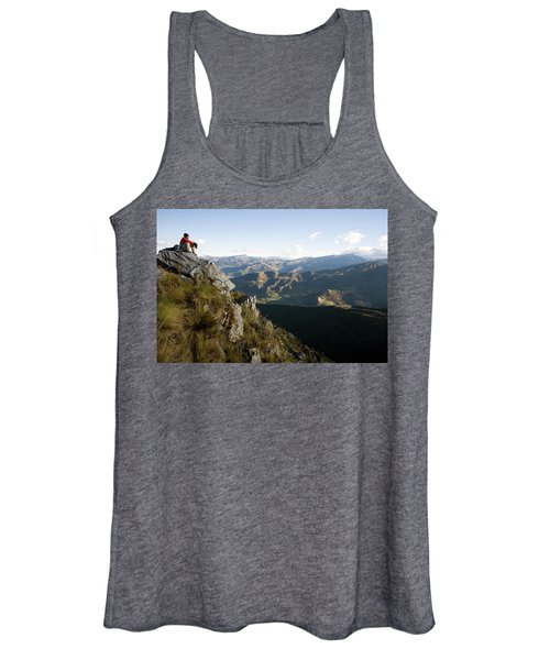 A Woman Sits Overlooking The Mountains Women's Tank Top
