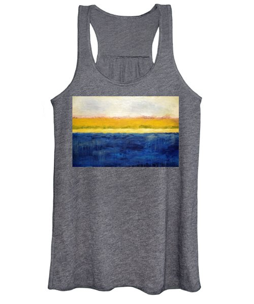 Abstract Dunes With Blue And Gold Women's Tank Top