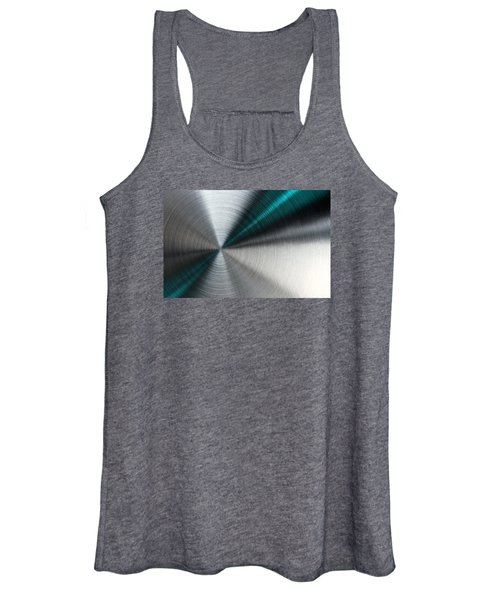 Abstract Metallic Texture With Blue Rays. Women's Tank Top