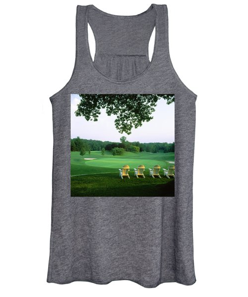Adirondack Chairs In A Golf Course Women's Tank Top