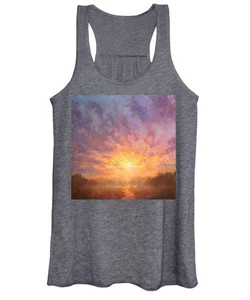 Impressionistic Sunrise Landscape Painting Women's Tank Top