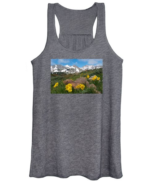 Alpine Sunflower Mountain Landscape Women's Tank Top