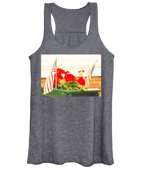 American Flags And Geraniums In A Wheelbarrow In Maine, One Women's Tank Top