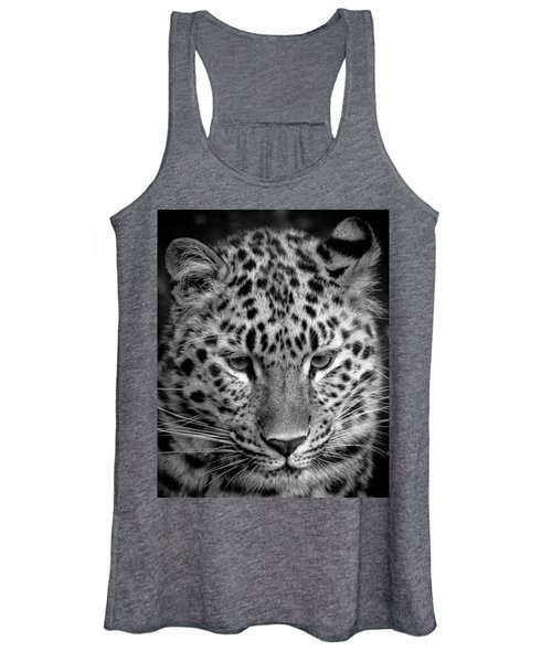 Amur Leopard In Black And White Women's Tank Top