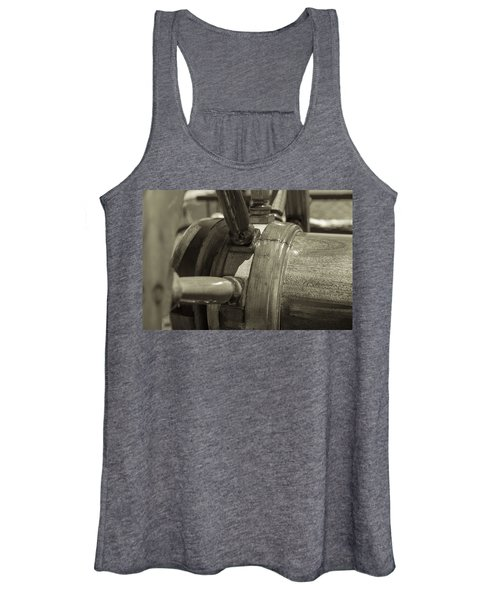At The Helm Black And White Sepia Women's Tank Top