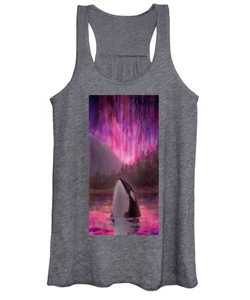 Orca Whale And Aurora Borealis - Killer Whale - Northern Lights - Seascape - Coastal Art Women's Tank Top
