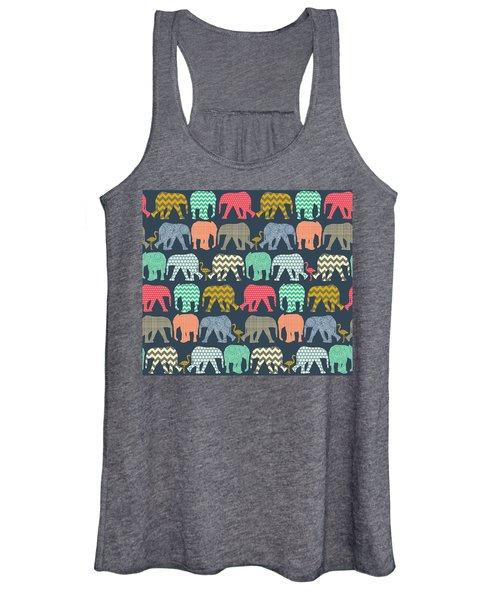 Baby Elephants And Flamingos Women's Tank Top