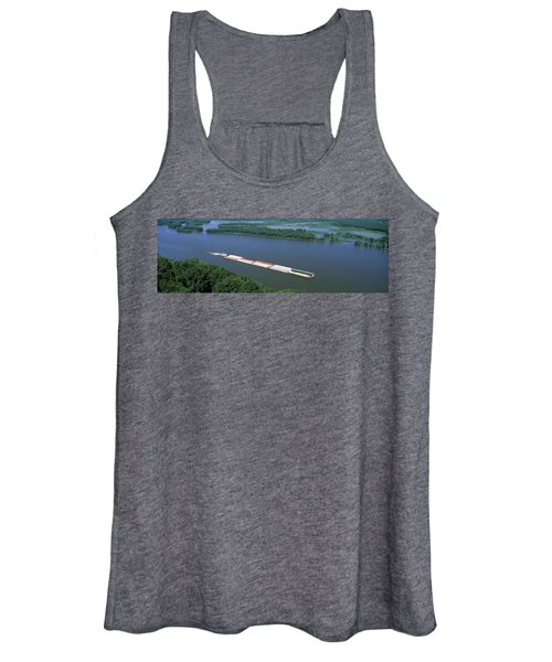 Barge In A River, Mississippi River Women's Tank Top