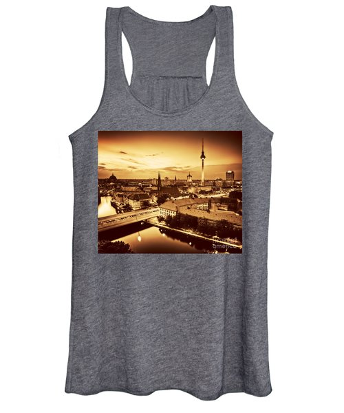 Berlin Germany Major Landmarks At Sunset In Gold Tone Women's Tank Top