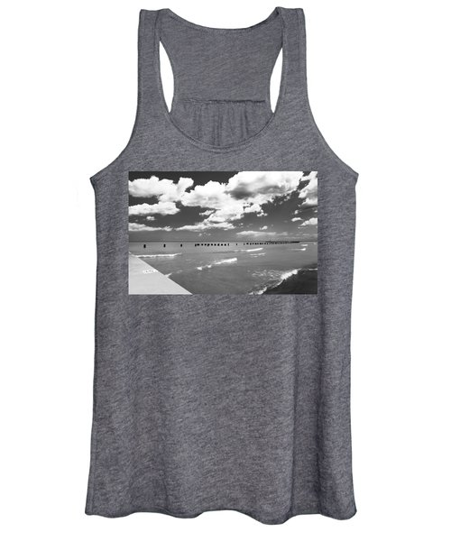 Big Lake Clouds Black White Women's Tank Top