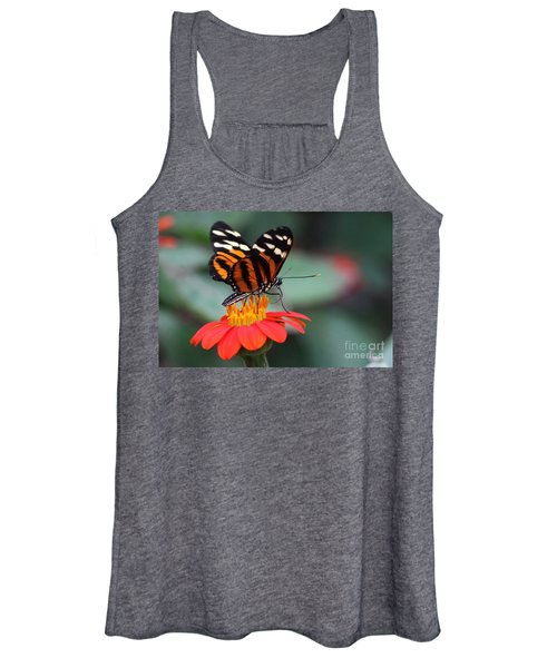 Black And Brown Butterfly On A Red Flower Women's Tank Top