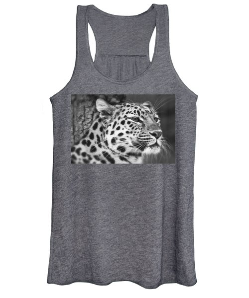 Black And White - Amur Leopard Portrait Women's Tank Top