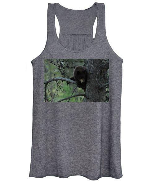 Black Bear Cub In Tree Women's Tank Top