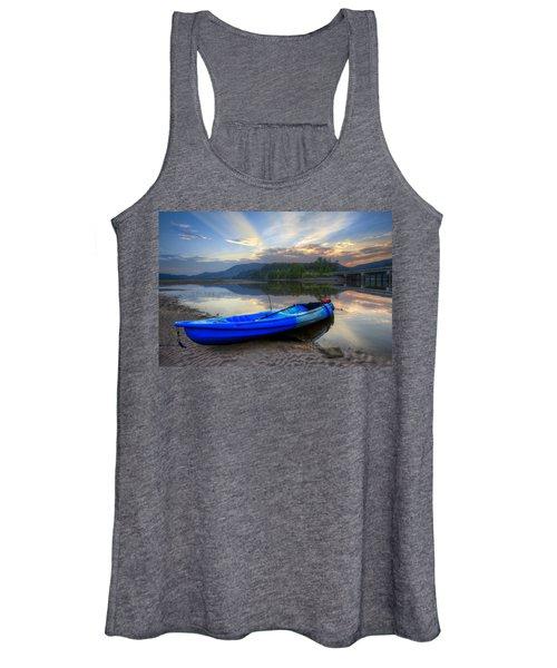 Blue Canoe At Sunset Women's Tank Top
