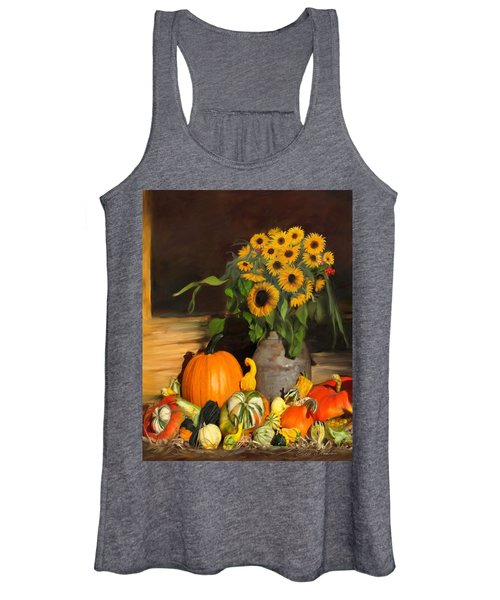 Bountiful Harvest - Floral Painting Women's Tank Top