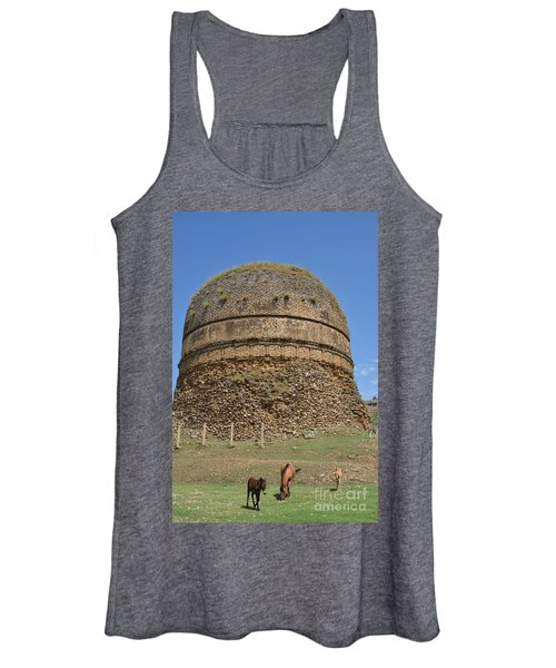 Buddhist Religious Stupa Horse And Mules Swat Valley Pakistan Women's Tank Top