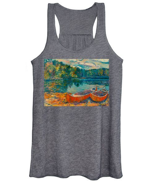 Canoes At Mountain Lake Women's Tank Top