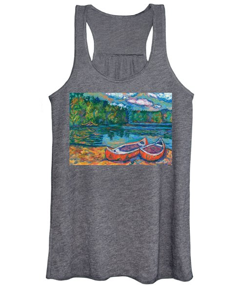 Canoes At Mountain Lake Sketch Women's Tank Top