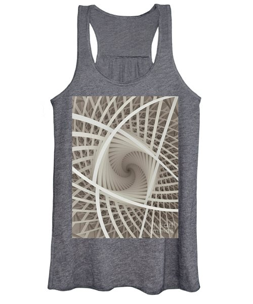 Centered White Spiral-fractal Art Women's Tank Top